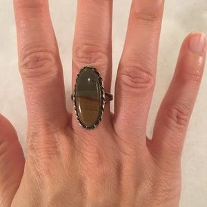 Antique jasper & silver oval ring size 8.25